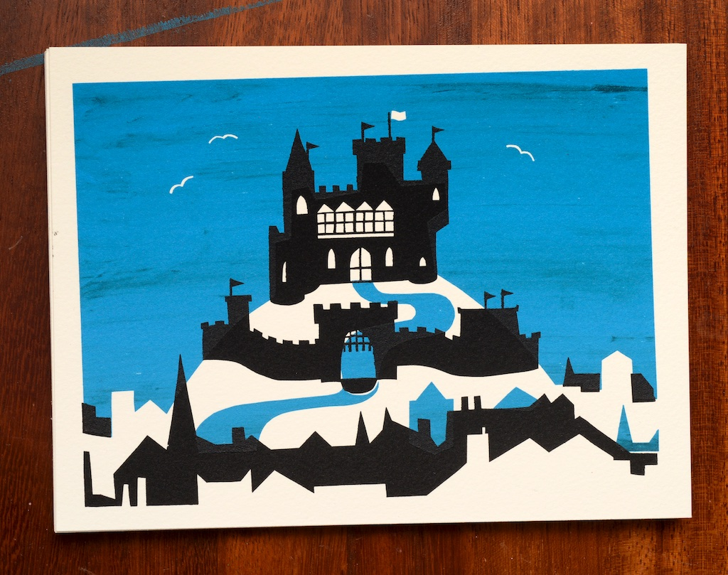 Screenprinted illustration of a castle on a hill