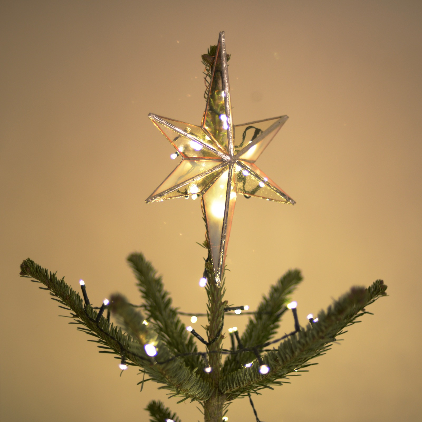 Stained-glass star Christmas tree topper