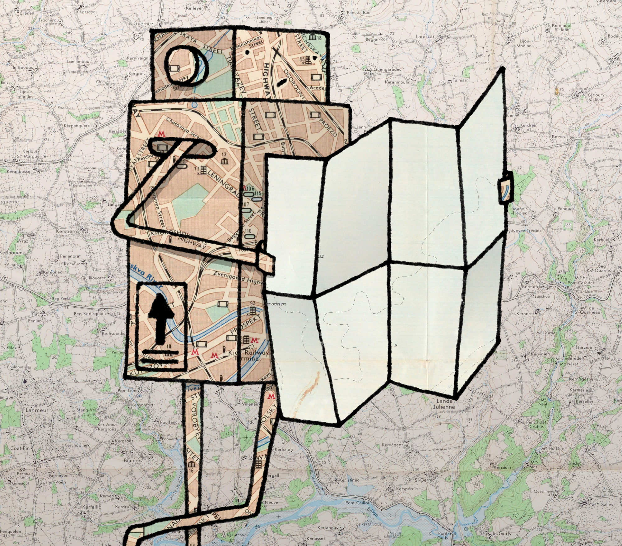 An illustration of a lost robot attempting to look at a paper map